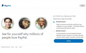 Paypal account registration