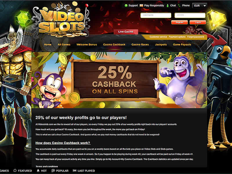 Video Slots Casino 25% CashBack Page