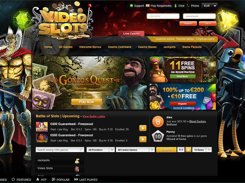 VideoSlots.com Casino HomePage