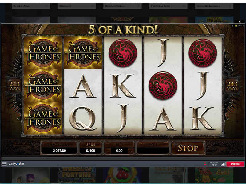 Party Casino Game of Thrones Slot Screenshot