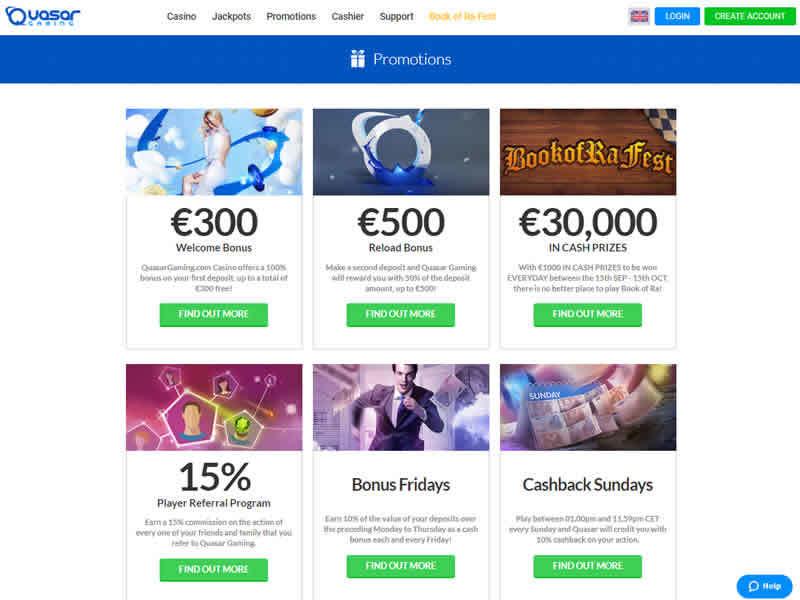 Quasar Gaming Casino Bonuses