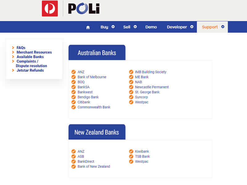 Poli Casinos - Australian and New Zealand Banks