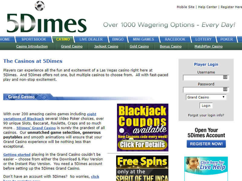 5Dimes casino Homepage