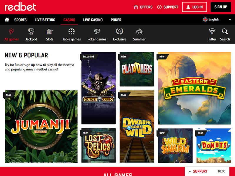 Redbet Casino Homepage