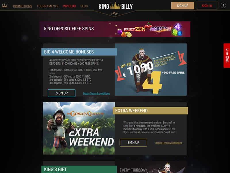 King Billy Casino Bonuses