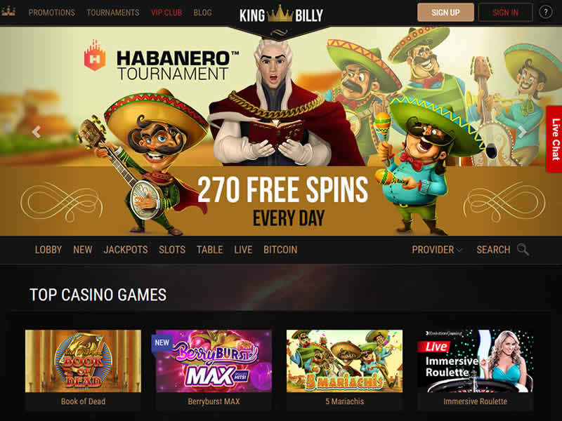 King Billy Casino Homepage