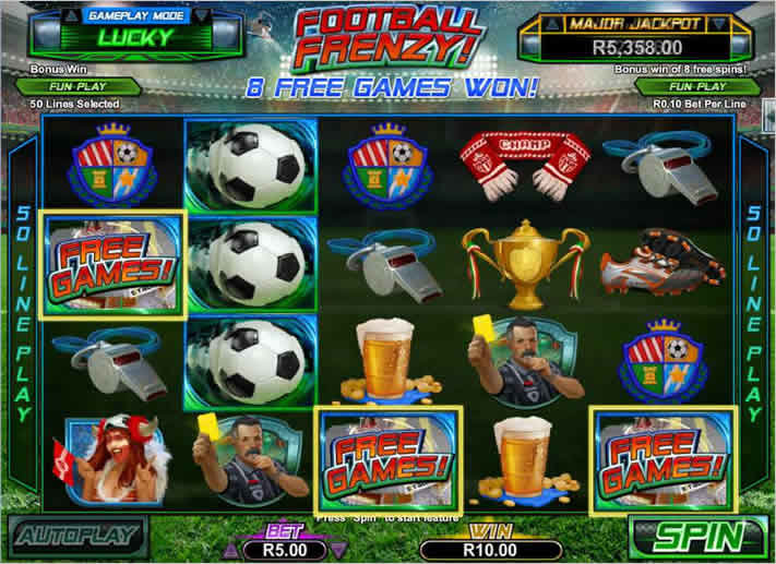 50 Paylines RTG Online Slot: Football Frenzy
