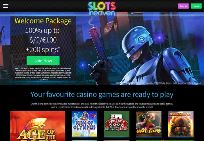 Slots Heaven Casino Home Page