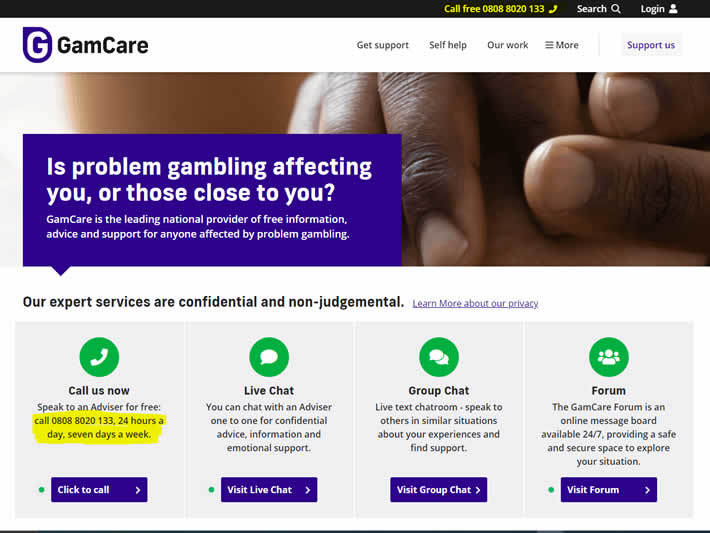 Gam Care Website Live Chat & Line