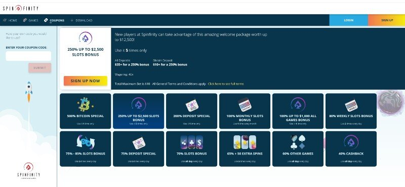 Spinfinity Bonuses and Promotions