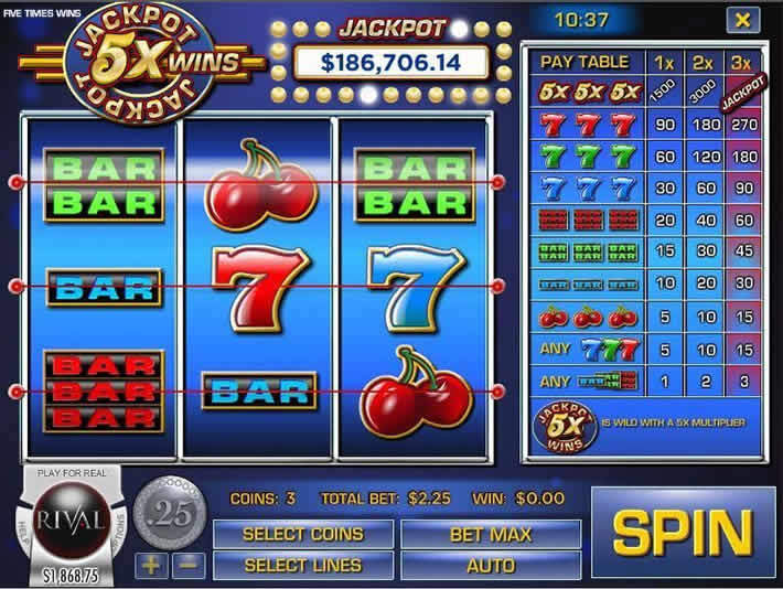 Jackpot 5X Wins: Rival Progressive Jackpot Slots