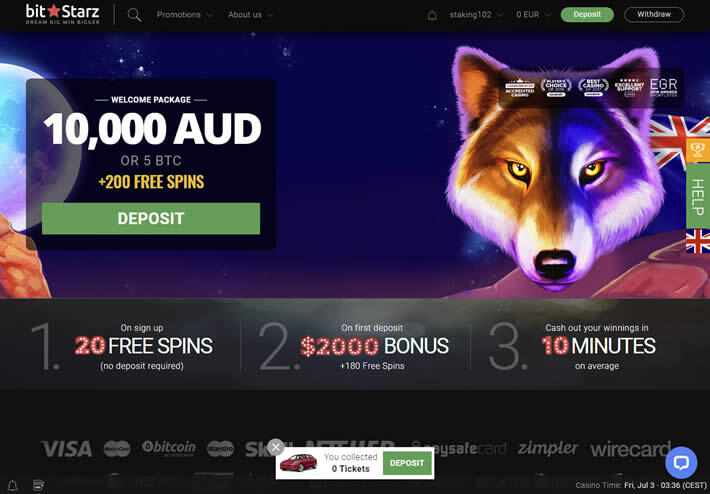 Up to AUD10,000 redeemable in your first 4 deposits at Bitstarz casino Australia.