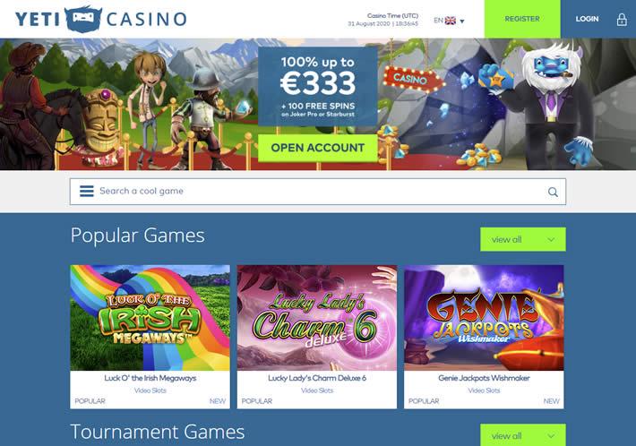 Yeti Casino Homepage