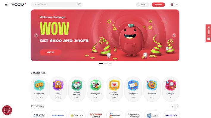 Yoju Casino Homepage Layout