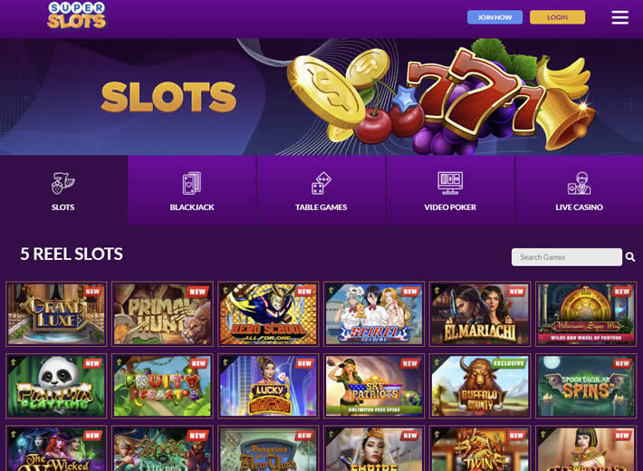Super Slots casino game library