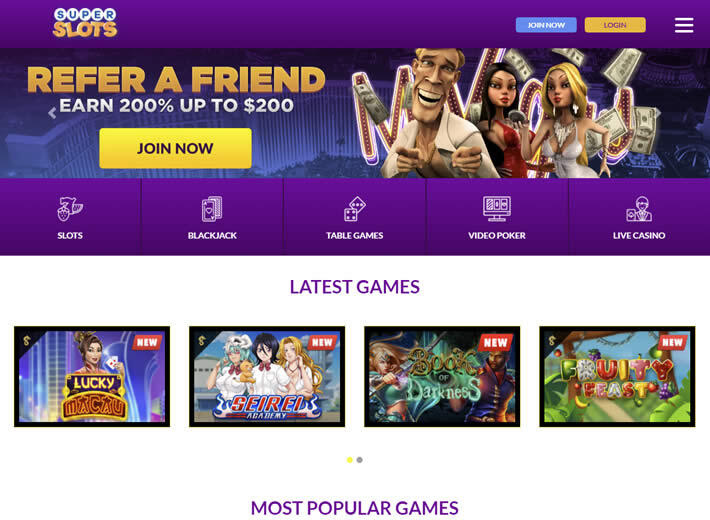 Superslots.ag casino Homepage