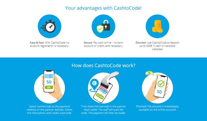 Cashtocode Casinos Advantages