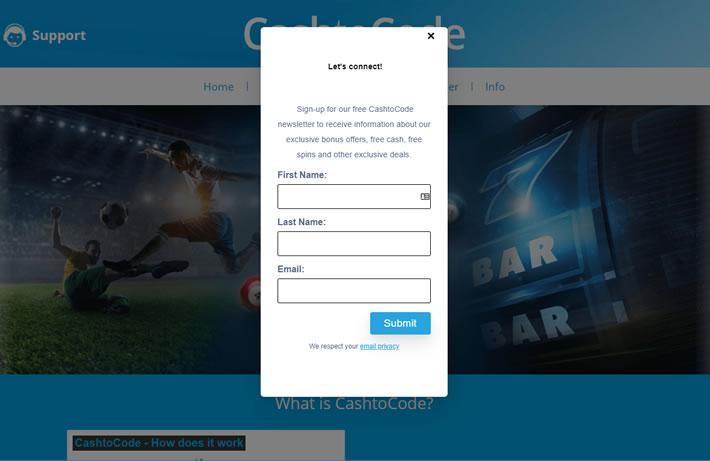 Cashtocode Homepage